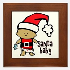 1212 Santa Baby with blue teddy twibab Framed Tile