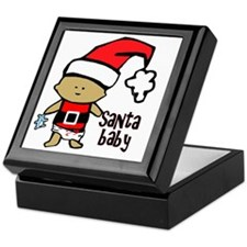 1212 Santa Baby with blue teddy twiba Keepsake Box