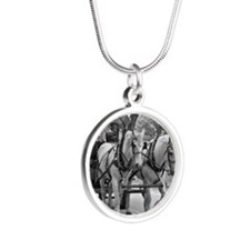 Horse and Wagon Silver Round Necklace