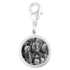 Horse and Wagon Silver Round Charm
