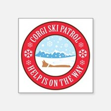 "corgi-ski-patrol Square Sticker 3"" x 3"""