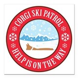 Corgi ski patrol Square Car Magnets