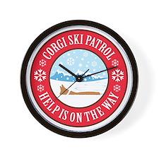 corgi-ski-patrol Wall Clock