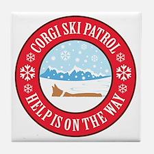corgi-ski-patrol Tile Coaster