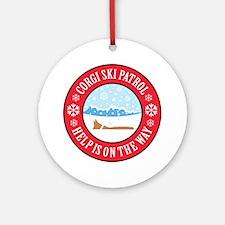 corgi-ski-patrol Round Ornament