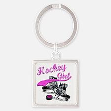 hockey_girl_4 Square Keychain