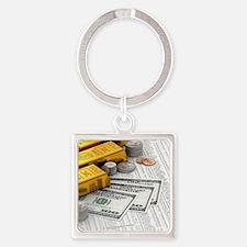 gold_bars_06 Square Keychain