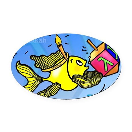 Hanukkah hebrew fish holding dreid oval car magnet by for Fish in hebrew