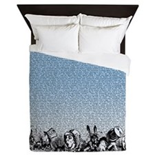 alice-vintage-border_blue_18x21h Queen Duvet