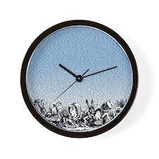 alice-vintage-border_blue_18x21h Wall Clock