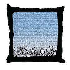 alice-vintage-border_blue_14-333x18v Throw Pillow