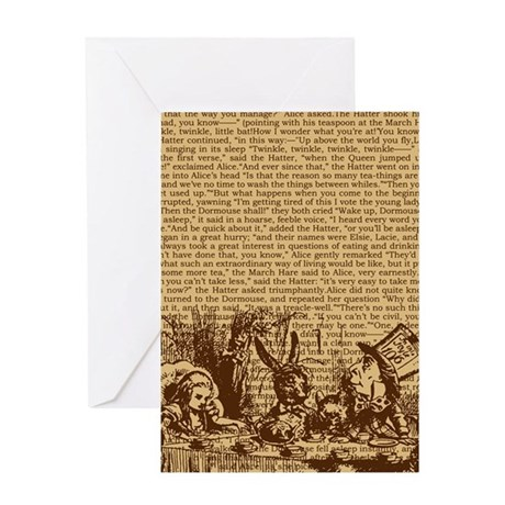 alice-vintage-border_brown_9-86x18v Greeting Card