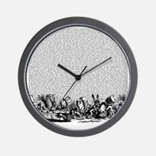 alice-vintage-border_bw_18x18 Wall Clock