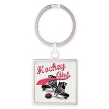 hockey_girl_red Square Keychain