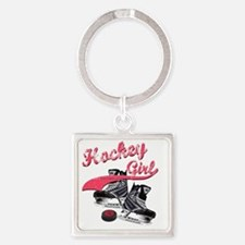 hockey_girl_red Square Keychain