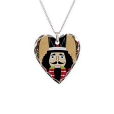 Merry Christmas Nutcracker Necklace Heart Charm
