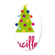 Christmas-tree-Lucille Oval Car Magnet