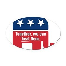 GOP BEAT DEM LOGO Oval Car Magnet