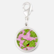 Leaping Frogs Silver Round Charm