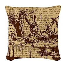 alice-vintage-border_brown_12- Woven Throw Pillow