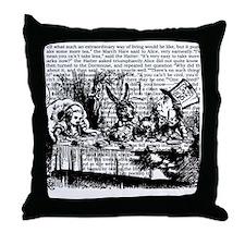 alice-vintage-border_bw_9x9 Throw Pillow