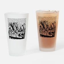 alice-vintage-border_bw_9x9 Drinking Glass