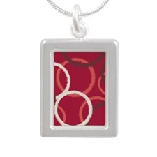 GeoCircles_Red_78 Silver Portrait Necklace