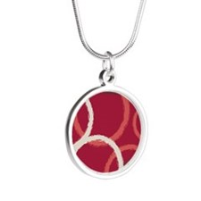 GeoCircles_Red_78 Silver Round Necklace