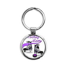 hockey_mom_purple Round Keychain
