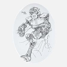 Charlz War Robot FInal V1 Oval Ornament