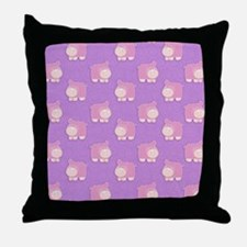 Pink Hippo Purple Flip Flops Throw Pillow