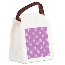 Pink Hippo Purple Flip Flops Canvas Lunch Bag