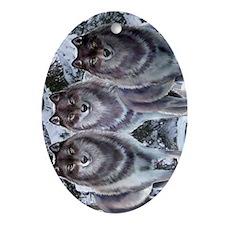 WinterWolvesPhone Oval Ornament