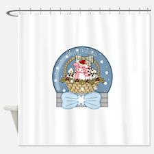 christmas pig glober-001 Shower Curtain