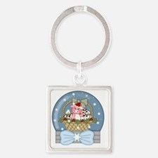 christmas pig glober-001 Square Keychain