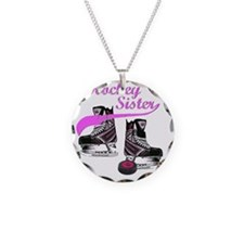 hockey_sister_pink Necklace Circle Charm