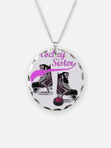 hockey_sister_pink Necklace Circle Charm