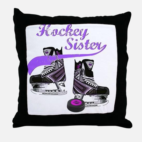 hockey_sister_purple Throw Pillow