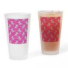 Pink Zebra Flip Flops Drinking Glass