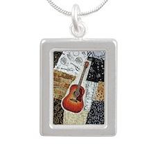 guitar-oval-ornament Silver Portrait Necklace