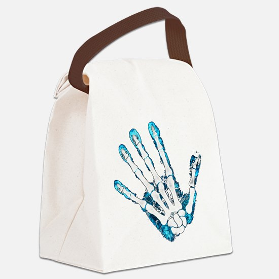 Blue Hand Canvas Lunch Bag