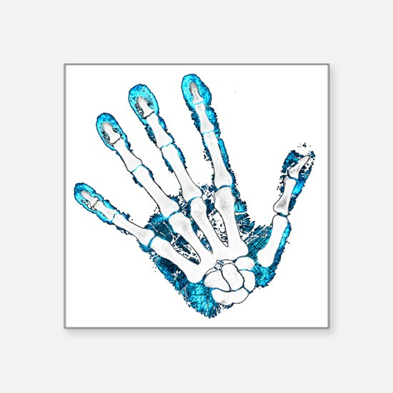 "Blue Hand Square Sticker 3"" x 3"""