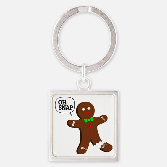Oh Snap Gingerbread Man Square Keychain