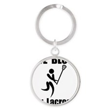 Lacrosse Give Blood Black Round Keychain