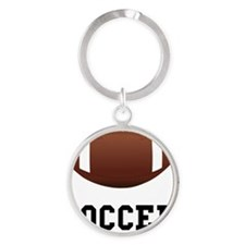 Soccer Football Black Round Keychain