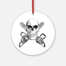 skull_chainsaws Round Ornament
