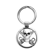 skull_chainsaws Round Keychain