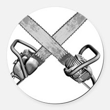 chainsaws_sm Round Car Magnet