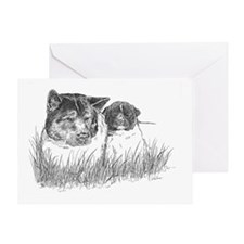 akita-with-puppy Greeting Card