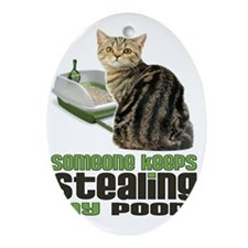 stealing my poop 11x14 Oval Ornament